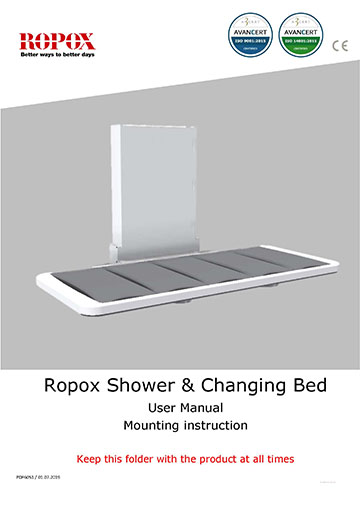 Ropox user & mounting manual - Shower/Changing bed UK