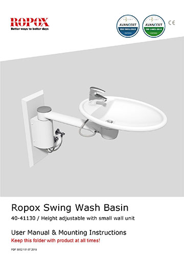 Ropox user & mounting - Swing Washbasin height adjustable with small wall unit