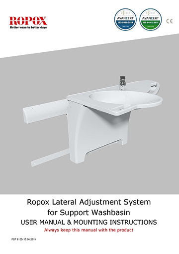 Ropox -user & mounting manual - Support Washbasin lateral adjustment system