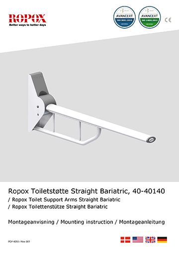 Ropox Installation manual for toilet support arms, straight bariatric