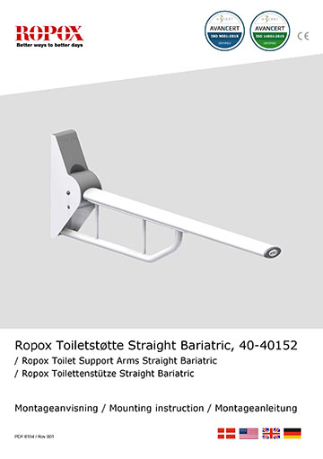 Ropox Installation manual for toilet support arms, straight bariatric short